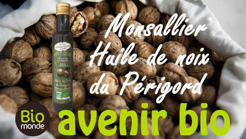 L′huile de noix bio du Périgord Monsallier au magasin avenir bio biomonde rennes