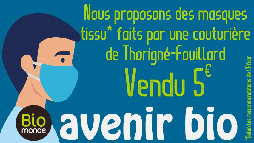 Retrouvez des masques tissu fait par une couturière de Thorigné-Fouillard dans votre magasin Avenir Bio Biomonde à Rennes
