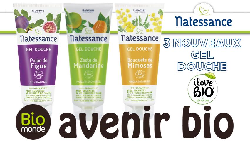 3 nouveaux gel douche douche de Natessance chez Avenirbio magasin Bio à Rennes