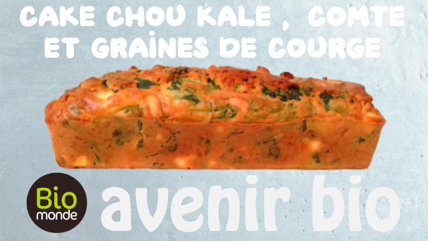 Votre magasin biologique Avenir Bio à rennes vous propose comme idée recette le cake chou kale, comte et graines de courge