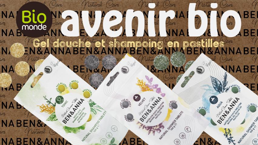 Votre magasin biologique Avenir Bio à rennes vous fait découvrir pastilles de shampoing et gel douche Ben&Anna